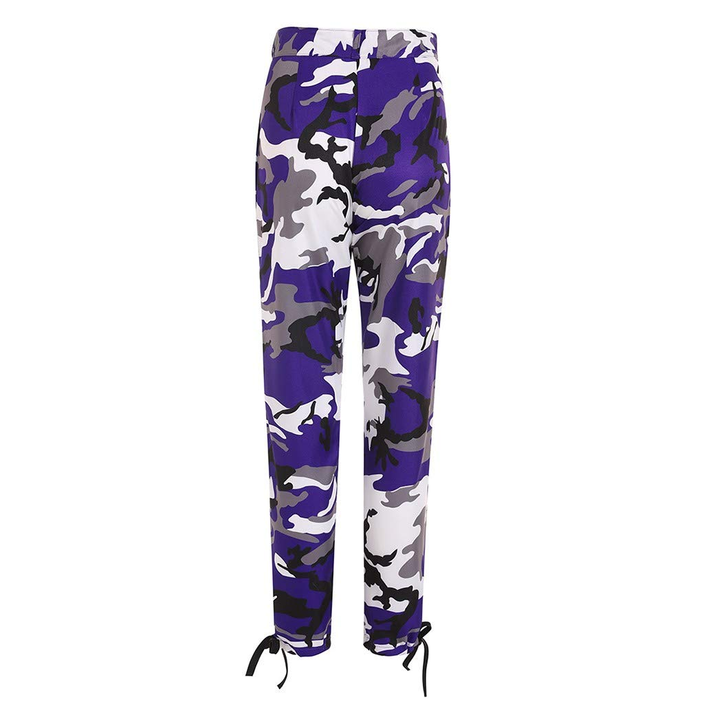 Pervobs Women's Casual Fashion Camouflage Sweatpants High Waist Sports Camouflage Pencil Trousers Pants(XL, Purple) by Pervobs Women Pants (Image #5)