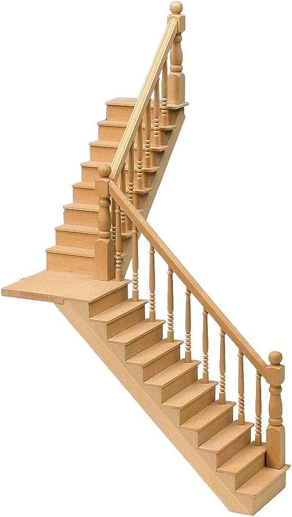 Amazon.es: Casa de muñecas Escalera en ángulo y Aterrizaje Kit de Madera Escaleras en Miniatura a Escala 1: 12: Juguetes y juegos