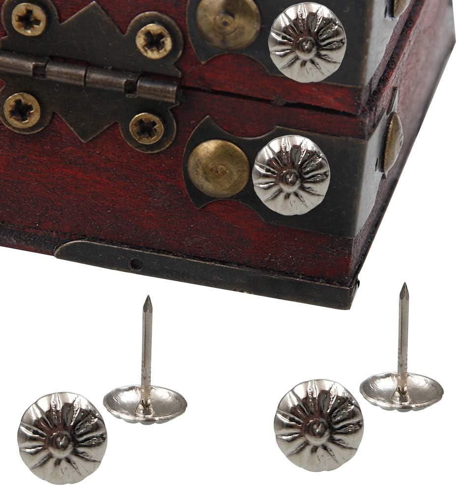 11 par 17 mm Punaises Antiques Punaise Meubles D/écoration DIY Ongles en Mousse avec Bo/îte en Plastique argent YOFASEN Clou Tapissier 200 Pi/èces