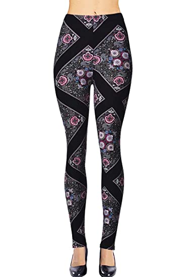 viv collection junior size printed brushed leggings floral pathway