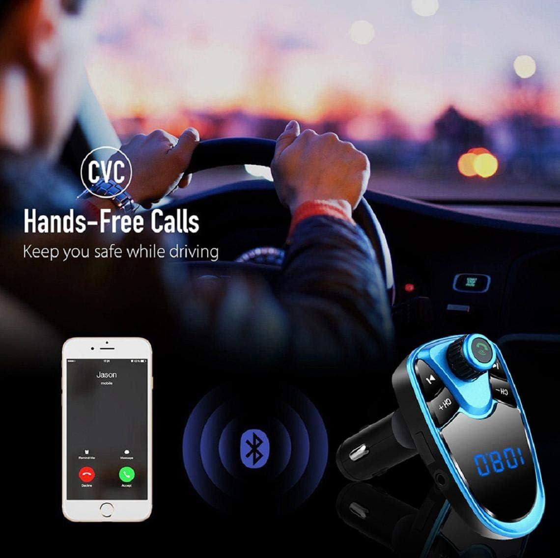 Adaptateur De Radio pour Voiture sans Fil Bluetooth Transmetteur FM Adaptateur Radio Kit De Voiture avec Chargeur De Voiture USB Double Lecteur Mp3 Support Carte TF Koojawind Transmetteur FM