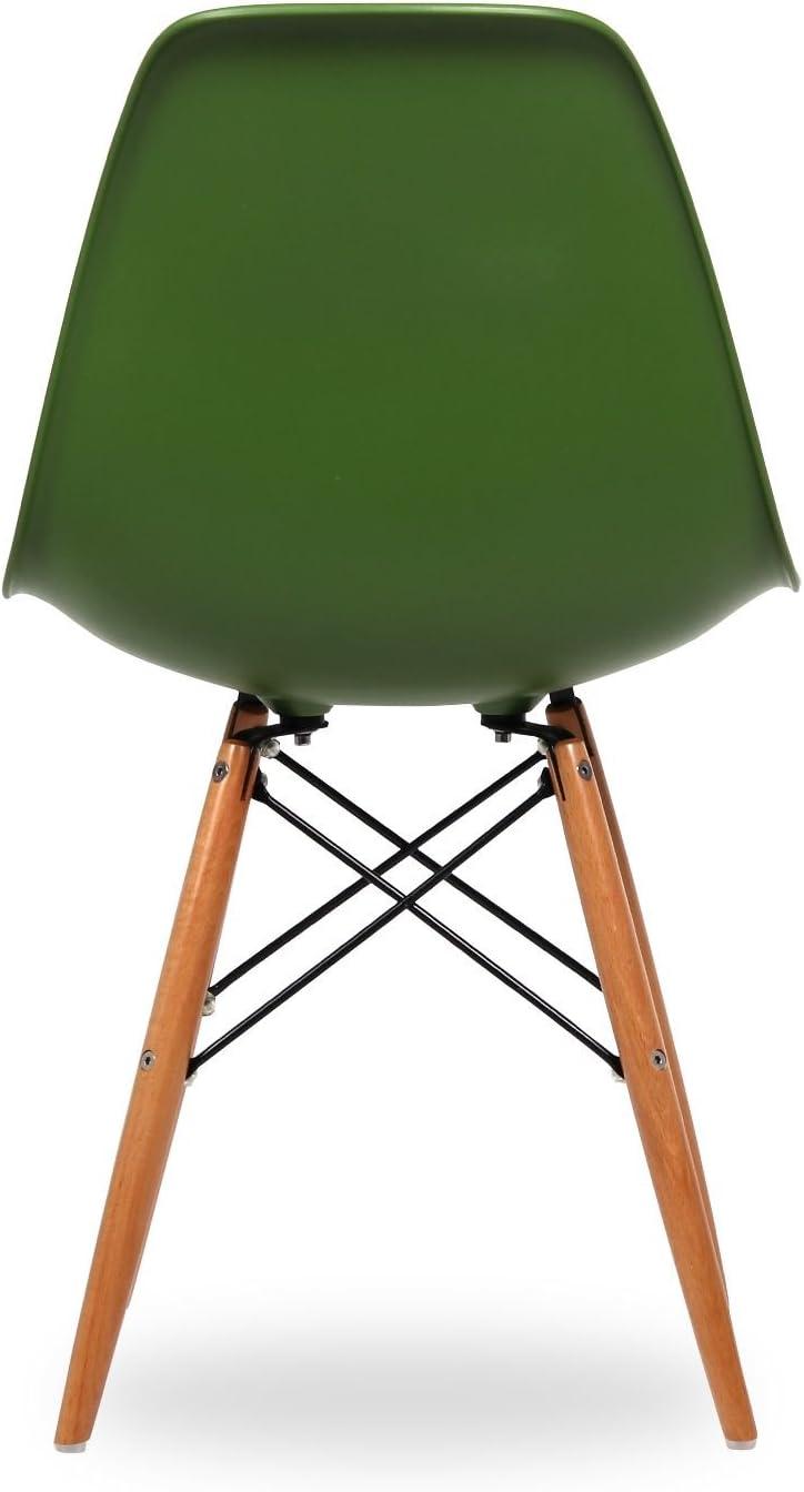 47x55x4.2 cm Polipropilene//Faggio//Acciaio Verde Lo+DeModa Wooden Set di 2 Sedia