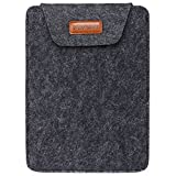 Awland Handmade Felt Laptop Sleeve Ultra Thin Slim Case Cover Bag Protector for Most Popular 14 Inch Laptop Notebook Computer Ultrabooks - Black