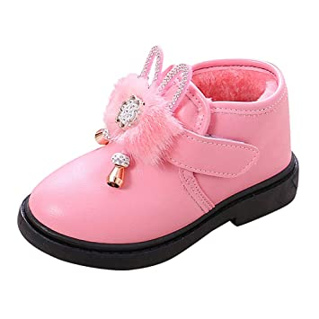 Red, US Size:13.5 Winter Kids Warm Plus Velvet Non-Slip Fashion Casual Shoes Girls Boys Snow Boots