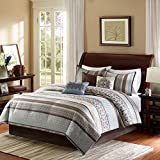 Madison Park Princeton 7 Piece Comforter Set, Queen, Blue