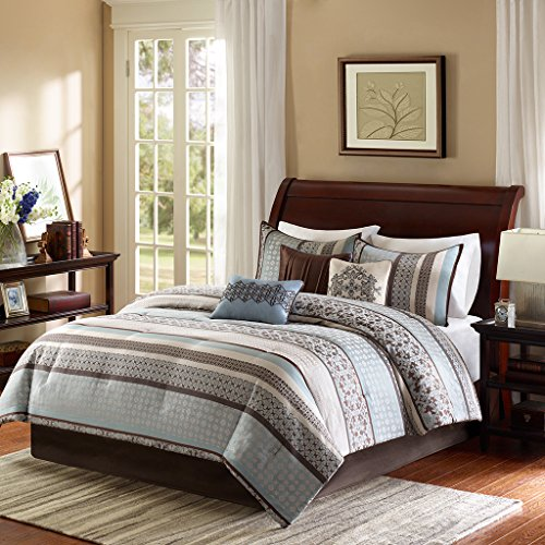 Madison Park Princeton Cal King Size Bed Comforter Set Bed in A Bag - Teal, Jacquard Patterned Striped – 7 Pieces Bedding Sets – Ultra Soft Microfiber Bedroom Comforters - Contemporary California King Bedroom Set