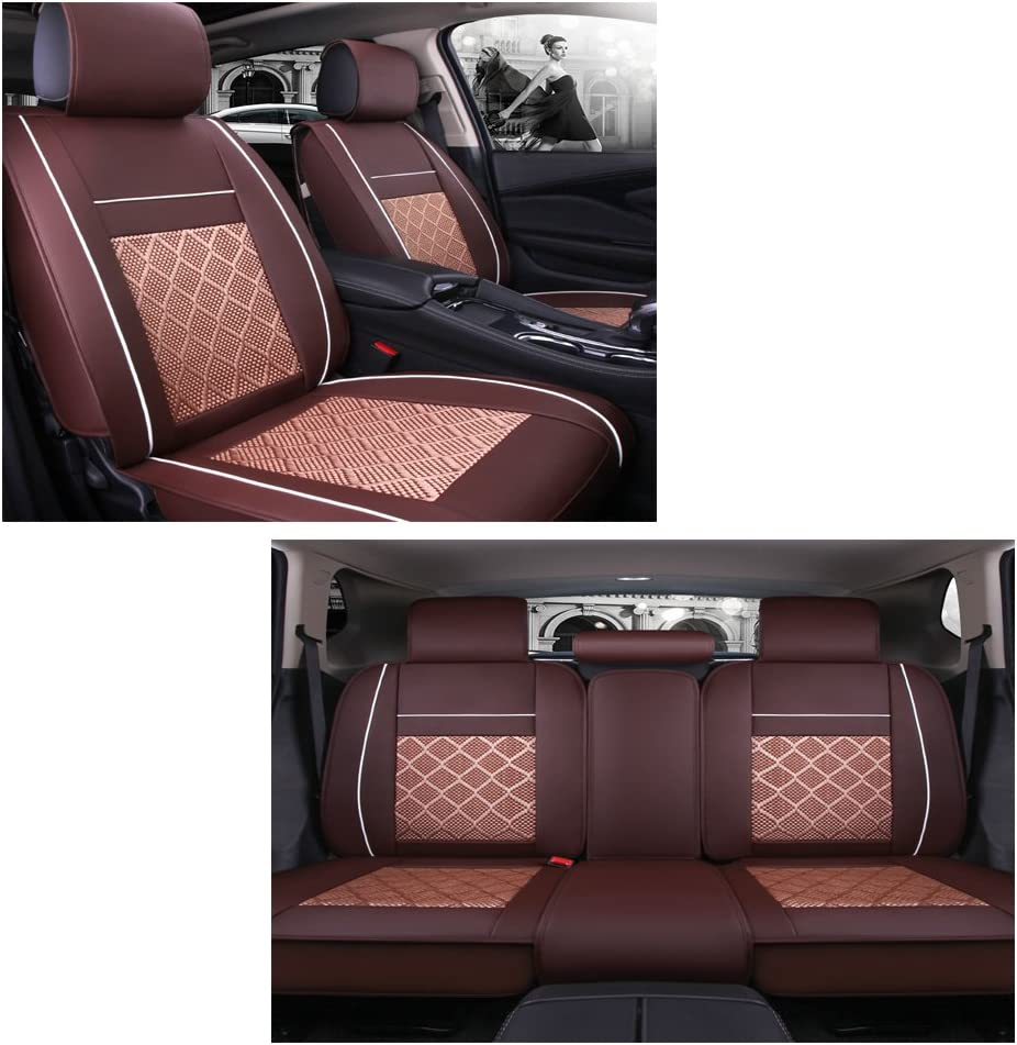 EverFabulous Luxury PU Leather Auto Car Seat Covers 5 Seats Full Set Universal Fit Red Wine