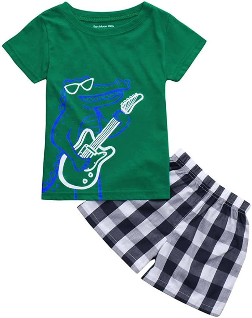 Pantaloncini Abiti Set Jimmackey 2pcs Bambino Ragazzo Plaid Camicia T Shirt Cime