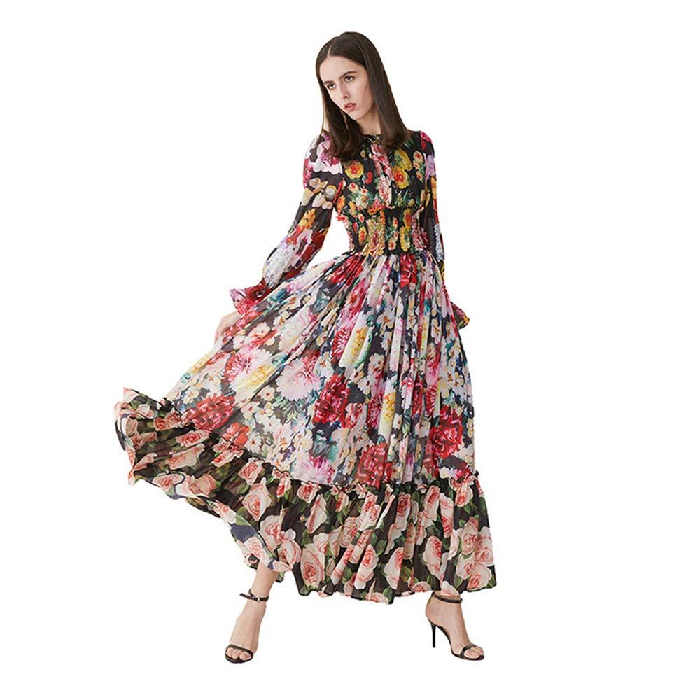 Women's Spring and Summer Light Temperament pink Printing Round Neck LongSleeved Elastic Waist Swing Big Swing Long Skirt Party Beach Skirt,L