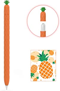 AhaStyle Cute Fruit Design Case Sleeve for Apple Pencil 2nd Gen, Silicone Soft Protective Cover Accessories Compatible with Apple Pencil 2nd Generation, iPad Pro 11 12.9 inch(Orange)