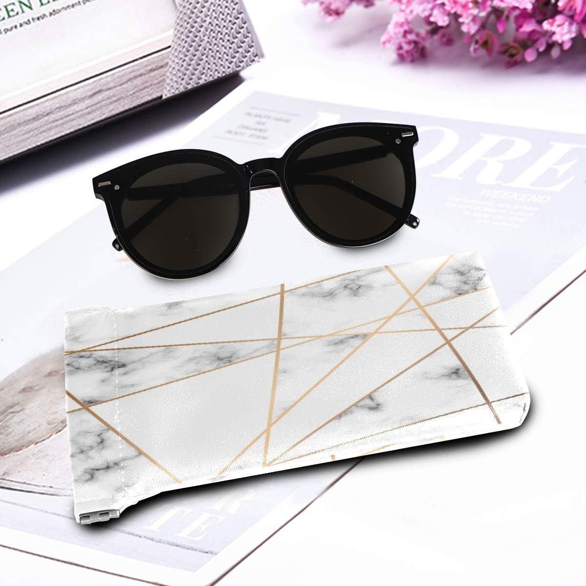 tragbare Brillenetui Quetsch-Tasche f/ür Damen und Herren QMIN Brillenetui f/ür Sonnenbrillen weiches PU-Leder geometrische Gold-Linien Marmor-Druck