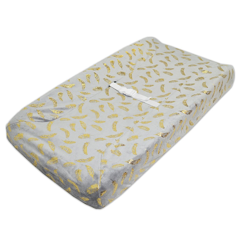 TL Care Heavenly Soft Chenille Fitted Contoured Changing Pad Cover, Sparkle Gold Feather on Solid Grey 3015 GD/GR