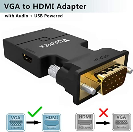 FOINNEX VGA a HDMI Adaptador/Convertidor con Audio (Conversor de PC Antigua a TV/Monitor con HDMI) Activo Hacer Macho VGA to HDMI Hembra Conector HD 1080P Video y Sonido para Computer,Laptop,Projector: Amazon.es: Informática