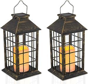 Yodotek Set of 2 Outdoor Solar Candle Lantern Flickering Flameless LED Candle/Plastic Hanging Lantern Golden Brushed Decorative Lantern for Patio Pathway Deck Christmas Halloween Garden Decor
