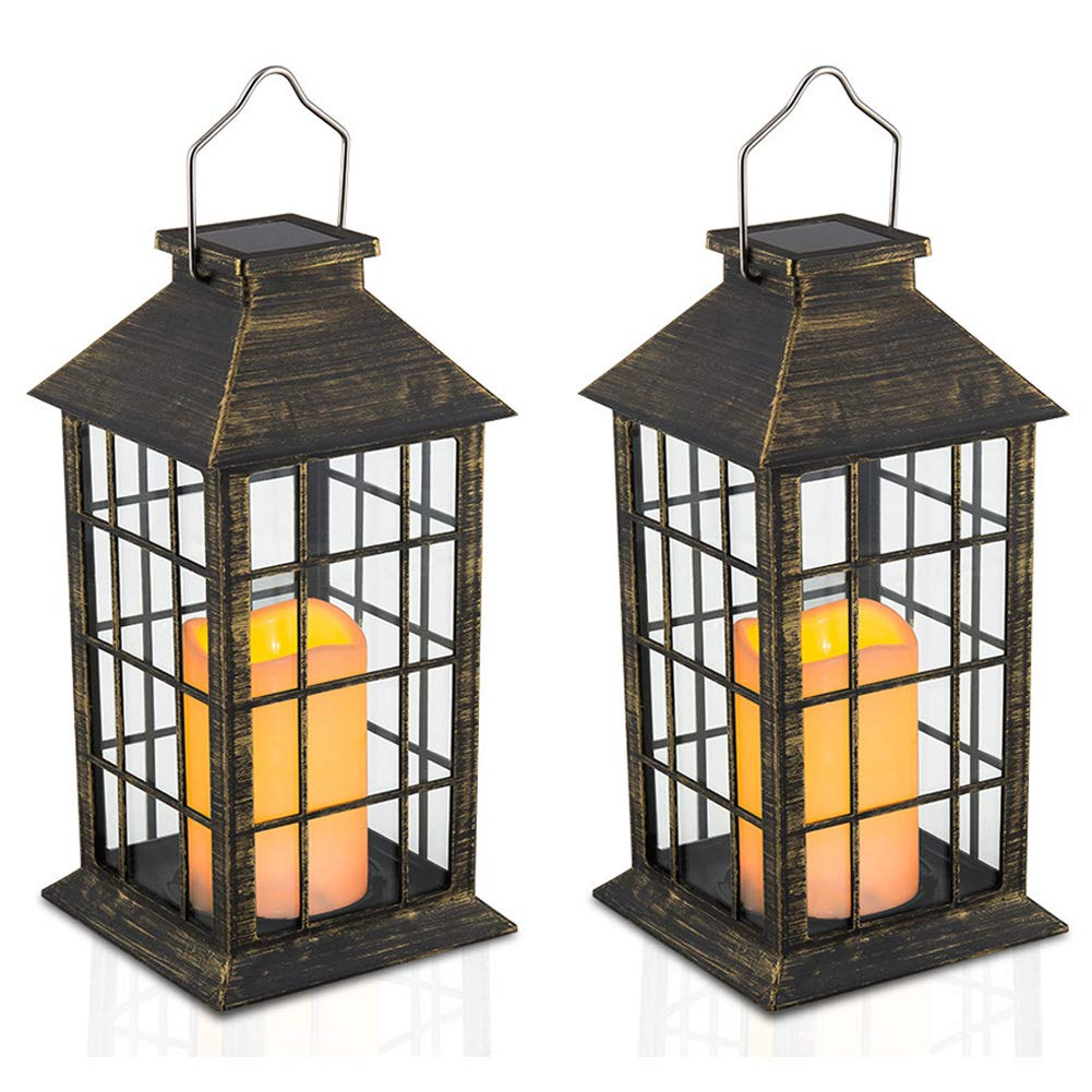 14 Set of 2 Outdoor Solar Candle Lantern Flickering Flameless LED Candle/Plastic Hanging Solar Garden Light/Decorative Lantern for Patio Pathway Deck Christmas Halloween Garden Decor Yodotek