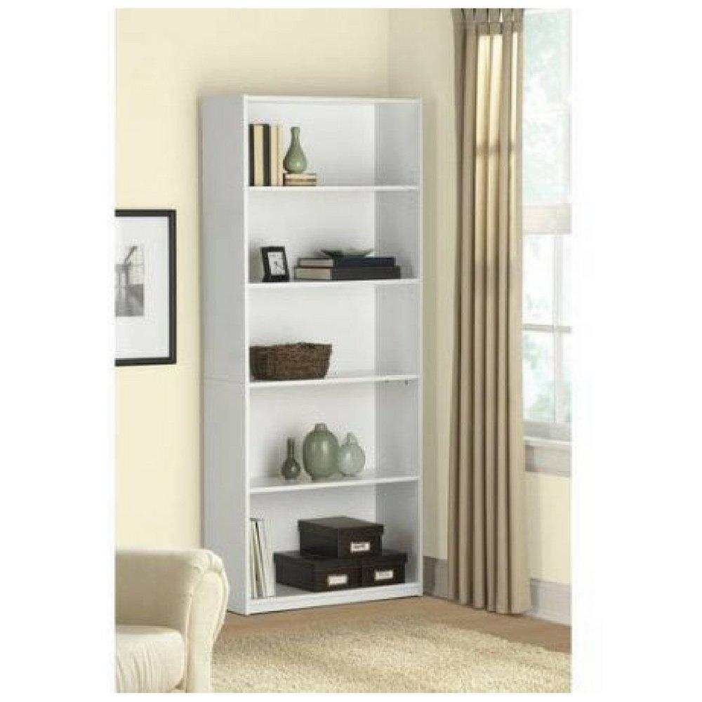 Mainstay` 5-Shelf Wood Bookcase (White, 5-Shelf)