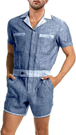 Enjoybuy Mens Cotton One Piece Jumpsuits Button Up Short Sleeve Coverall Summer Shorts Casual Rompers