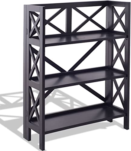 Premium Bookcase Foldable 3-Tier Storage. No Assembly Needed.
