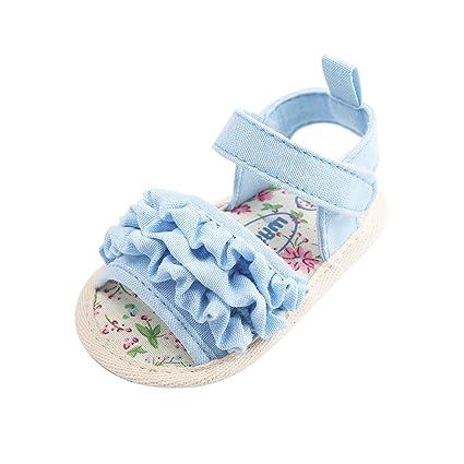 d68bc414e15f7 Estamico Sandales d été fleur douce semelle bébé filles Bleu 12-18 mois