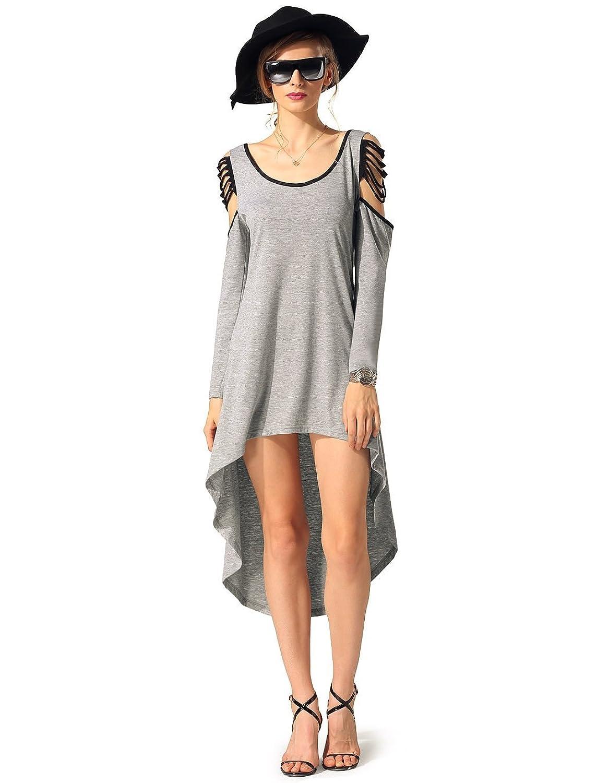 CRAVOG Damen Casual Schulterfrei Rückenfrei Kleid Minikleid Partykleid Sommerkleid Strandkleid