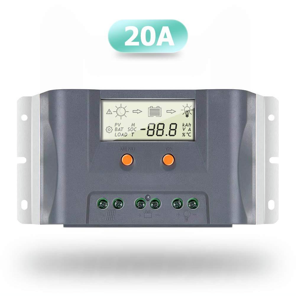 SolaMr 20A Regulador de Carga Solar 12V/24V Regulador Inteligente de Carga de la Batería del Panel Solar con Sensor de Temperatura para AGM, GEL y Batería Líquida - 20A