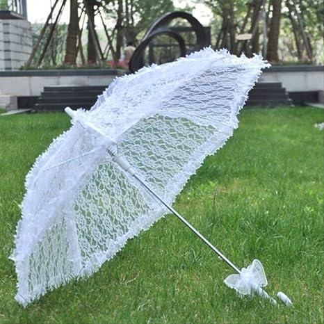 GJJDF Paraguas de Encaje Bordado de algodón Paraguas de sombrilla de Encaje Blanco/Marfil Paraguas de Boda Decoraciones 80CM: Amazon.es: Deportes y aire libre