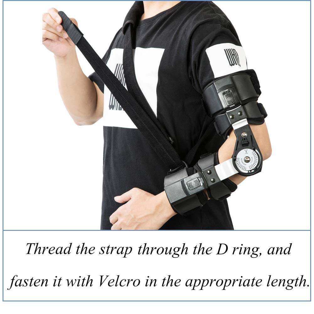 Hinged ROM Elbow Brace, Adjustable Post Op Elbow Brace with Strap for Support Post Op Injury Recovery(Left)
