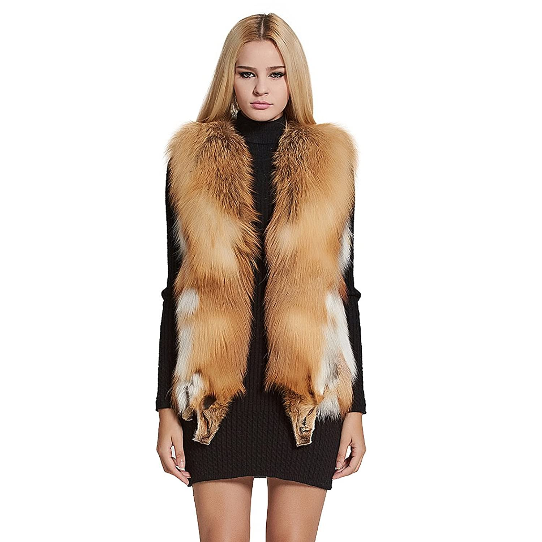Women's Sleeveless Genuine Red Fox Fur Vest