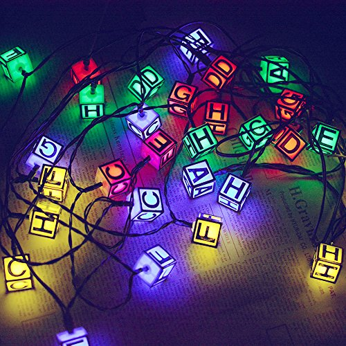 Aluvee Solar String Lights 19.7ft 30 LED 2 Modes Letters Fairy Lights for Outdoor Christmas Decorations Holiday Patio Landscape Home Birthday Present(Multi Color)