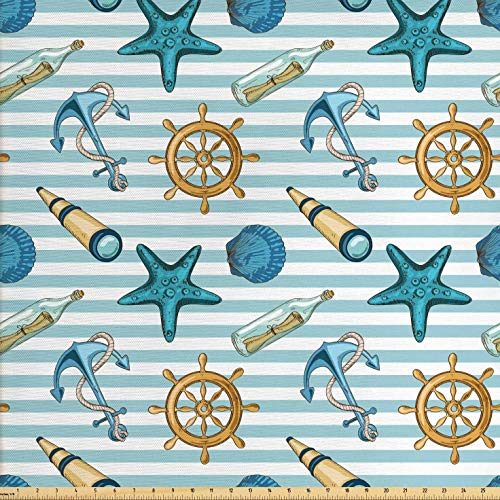 (Ambesonne Nautical Fabric by The Yard, Marine Sea Striped Background with Anchor Wheel Starfish Seashell Figures, Decorative Fabric for Upholstery and Home Accents, 3 Yards, Blue and Apricot)