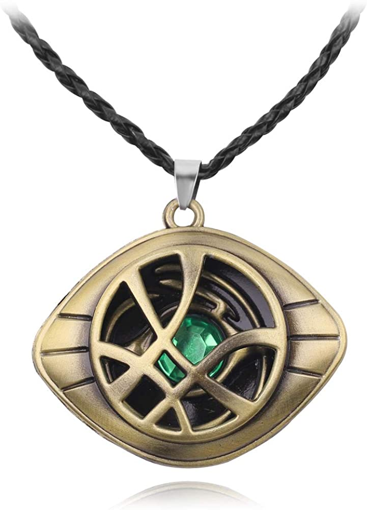 Doctor Strange Necklace - Eye of Agamotto Pendant Necklace with Black Chain Perfect Gifts for Doctor Strange Marvel Fans