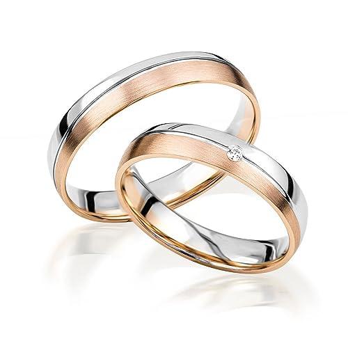 2 alianzas de oro 585 para parejas. Anillos de boda. Anillos de compromiso en oro blanco y oro rojo *con grabado y piedra*: Amazon.es: Joyería