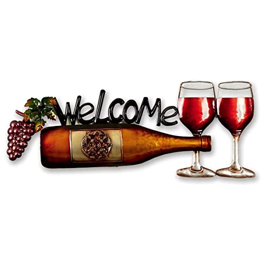 Wine Bottle Garden Wall Art With Welcome Message