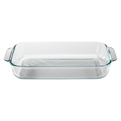 Amazon Pyrex SYNCHKG055786 Basics 2 Quart Glass Oblong Baking Dish Clear 111 In X 71 17 Kitchen Dining