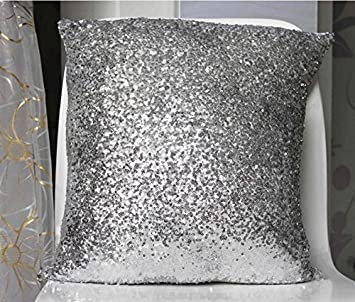 Amazoncom Solid Color Glitter Sequins Throw Pillow Case Cafe