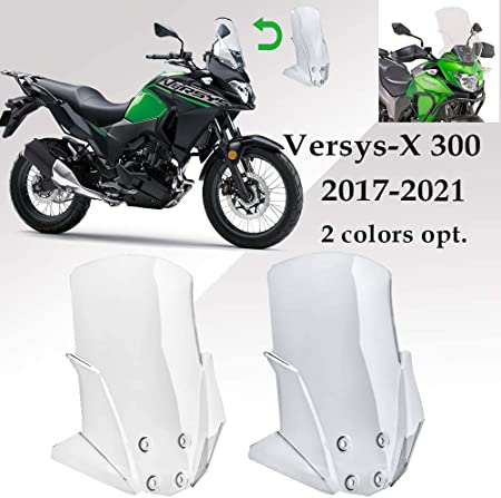 Motorcycle ABS Large Windscreen Windshield for Kawasaki Versys X300 X-300 X 300 Versys-X 300 2017 2018 2019 2020 2021 Injection Unbreakable Flycreen Wind Deflectors 17-21 Clear