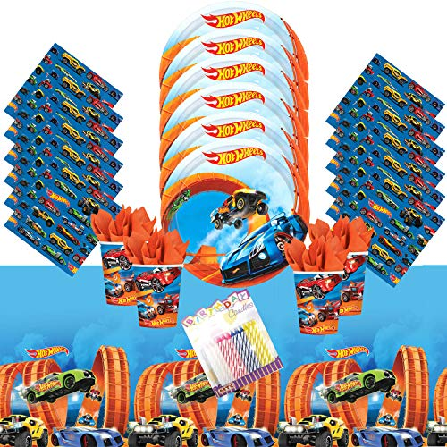 Lobyn Value Pack Hot Wheels Wild Racer Party Supplies Pack Serves 16 - Dessert Plates, Beverage Napkins, Cups, Table Cover, and Birthday Candles -