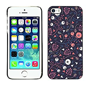 X-ray Impreso colorido protector duro espalda Funda piel de Shell para Apple iPhone 5 / iPhone 5S - Wallpaper Dark Blue Pink Flowers