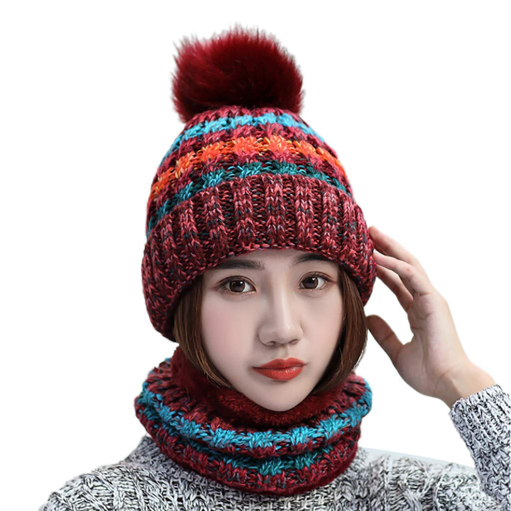 Pandaie-Womens Hats, 2Pcs Women Winter Warm Multicolor Knitted Venonat Beanie Hat+Scarf Keep Warm Set