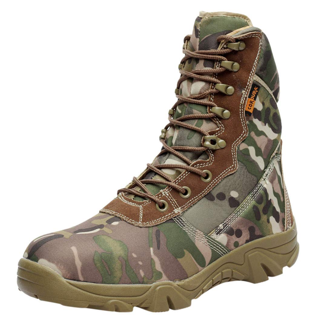 Men Outdoor Camping Sneaker Boots Mountaineering Camouflage Military Boots Waterproof Thick-Soled Wear-Resistant Puncture Camouflage 41 by CNSDLK