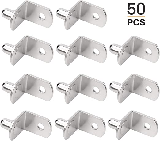 Bracket Style Cabinet Shelf Support Pegs -Clips for Kitchen & Bookcase -  Polished Nickel Steel Shelf Support Pegs