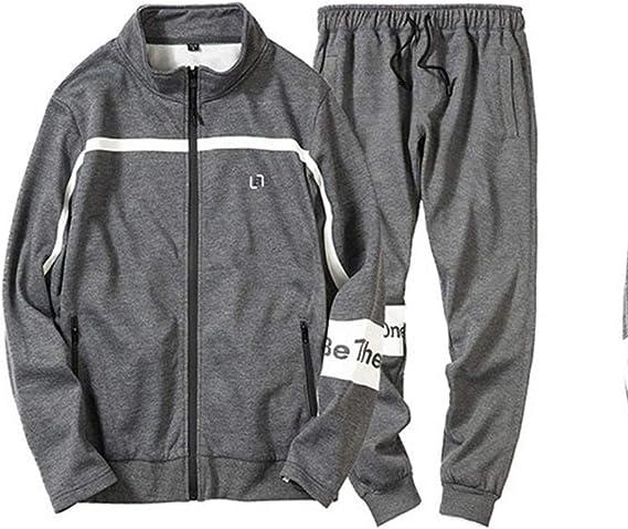 Puluo Uomo Sport Tute Stitching Stampa Running Set Casual Outdoor Felpe con Cappuccio e Pantaloni