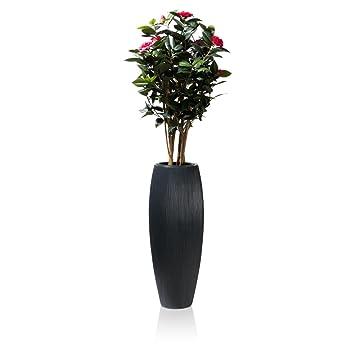 Blumenkübel Pflanzkübel CIGA 80 Fiberglas, 30x30x80 cm, anthrazit ...