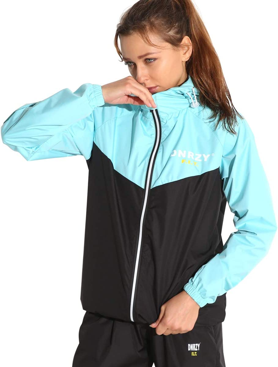 DNRZY F.I.T Sauna Sweat Suits for Men and Women Weight Loss,Long Sleeve Workout Clothes Hooded Jacket Pants Full Body Suits
