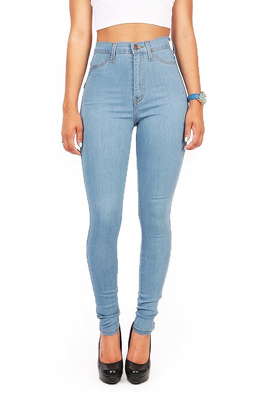 Vibrant Women's Juniors Vintage High Waist Denim Skinny Jeans 13 Light Blue