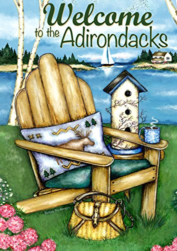 (Toland Home Garden Adirondack Bay Welcome to The Adirondacks 28 x 40 Inch Decorative House Flag )