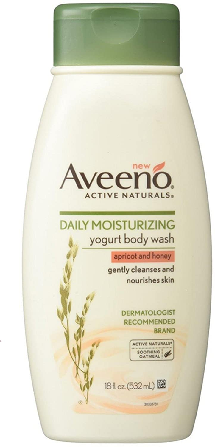 Aveeno Daily Moisturizing Yogurt Body Wash with Soothing Oat & Apricot Scent, Gentle Soap-Free Body Cleanser for Dry Skin, Dye-Free & Hypoallergenic, 18 fl. oz