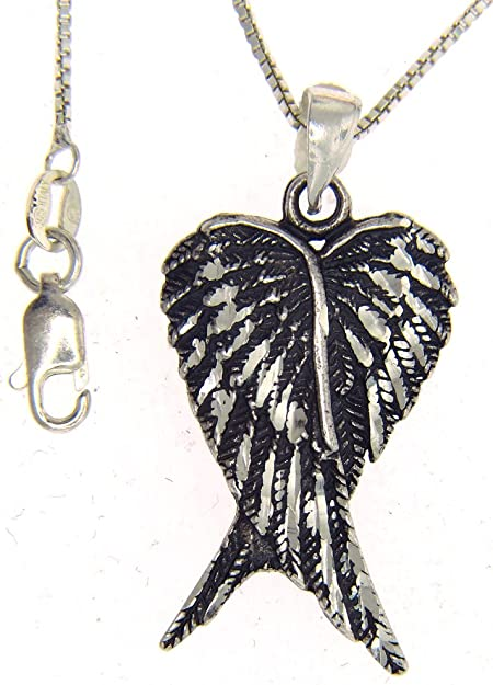 Sterling Silver 925 Angel Wing Pendant 16//18//20/'/' Chain Necklace Jewellery Gift