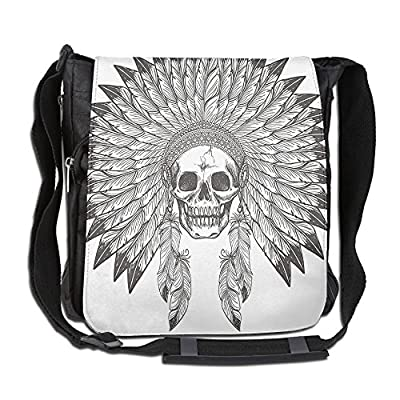 60%OFF Lovebbag Ethnic Theme Apache Skull With Indian Feather Headdress Crossbody Messenger Bag