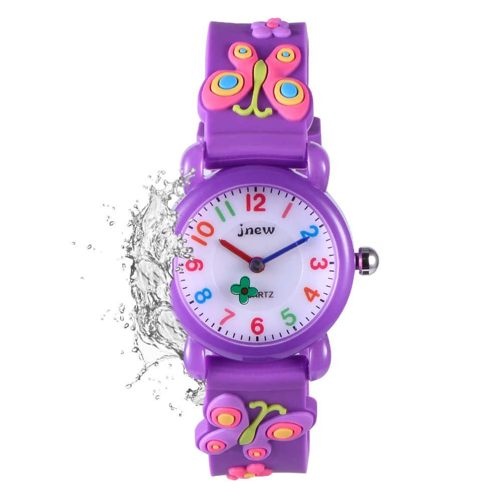 FoMass Gifts for 3-10 Year Old Boys Girls, 3D Cute Cartoon Waterproof Silicone Kids Watches Children Toddler Wrist Watches, Toys for 5-12 Year Old Boys Girls Birthday(purple butterfly)